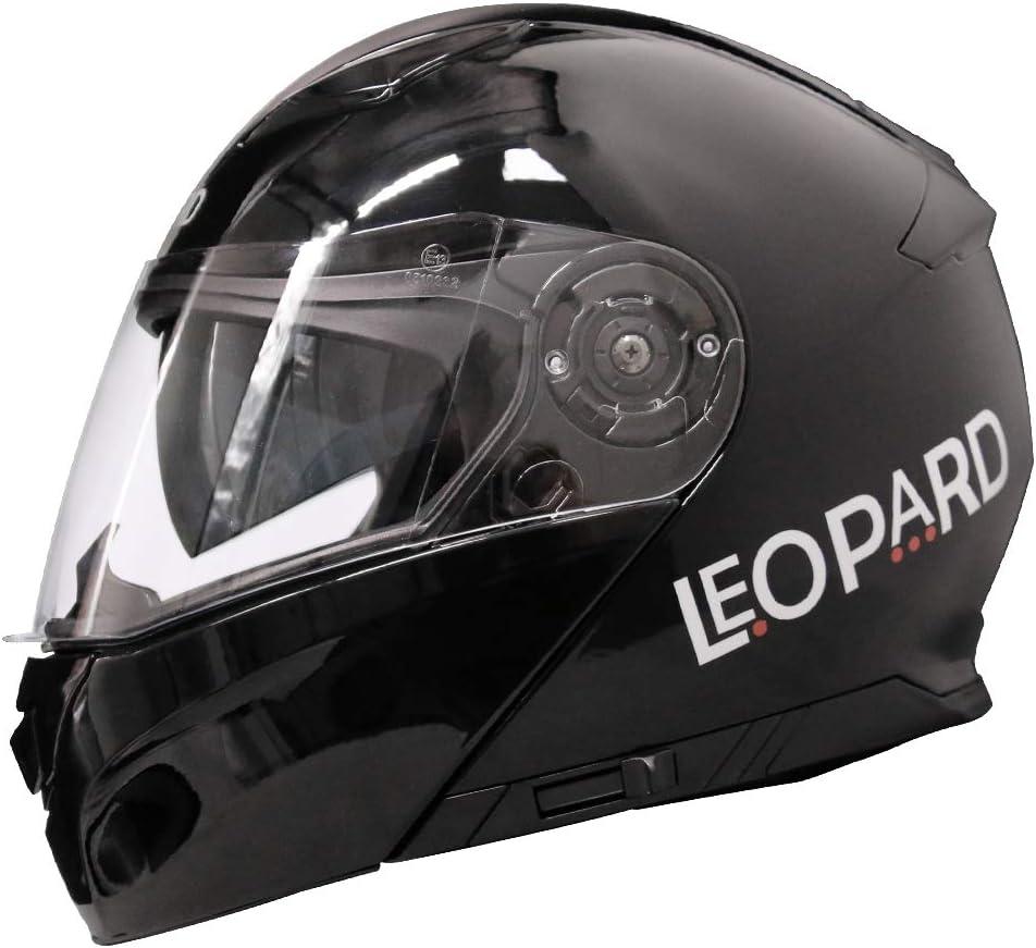 Leopard LEO-888 Casque Moto Modulable Double Visi/ère ECER Homologu/é Homme Femme 59-60cm Rouge//Gris//Noir L