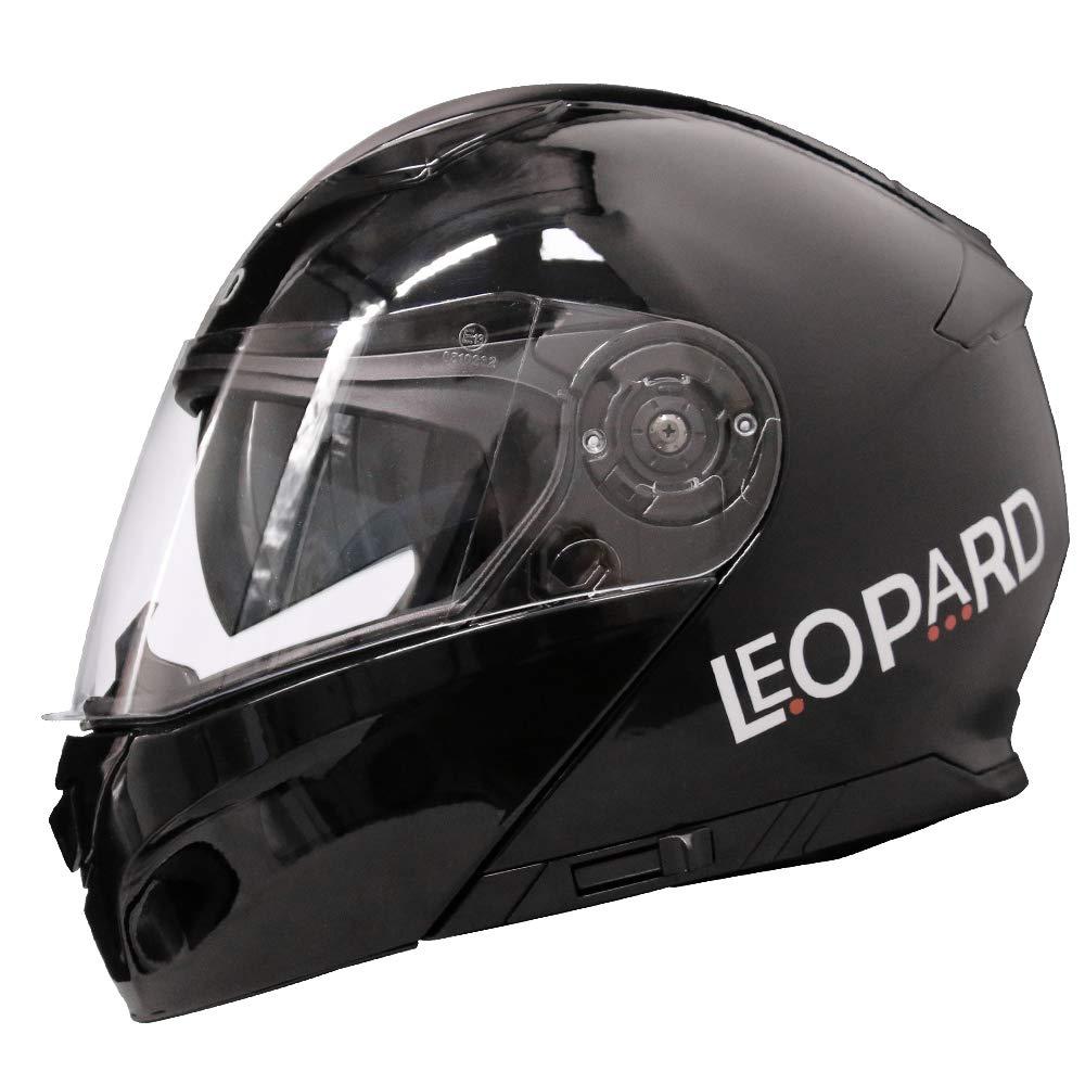 63-64cm Rosso//Grigio//Nero XXL Leopard LEO-888 Casco Modulare Integrale Moto Doppia Visiera Donna e Uomo Omologato ECE