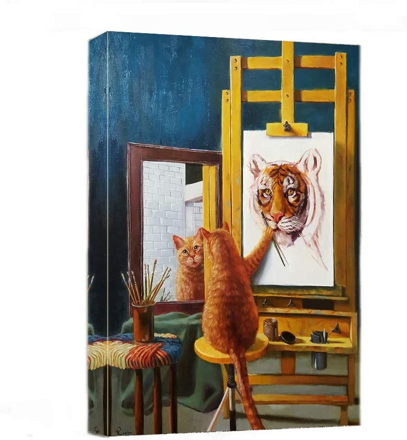 "Canvas Wall Art - Funny Cat Paint Tiger Painting Print-16"" x 20"" Modern Animal Canvas Print Artwork Stretched and Framed for Home Office Decor"