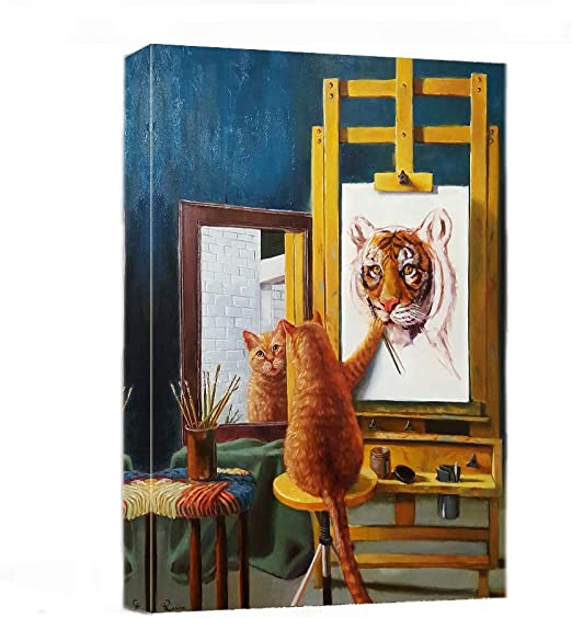 Cat And Tiger Pictures Wall Art Oil Painting