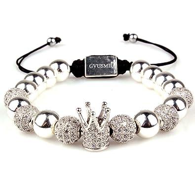 deaf8320e4cdb GVUSMIL 18kt Gold Plated Beads Bracelet Imperial Crown King CZ Bracelets  Luxury Fashion Charm Jewelry