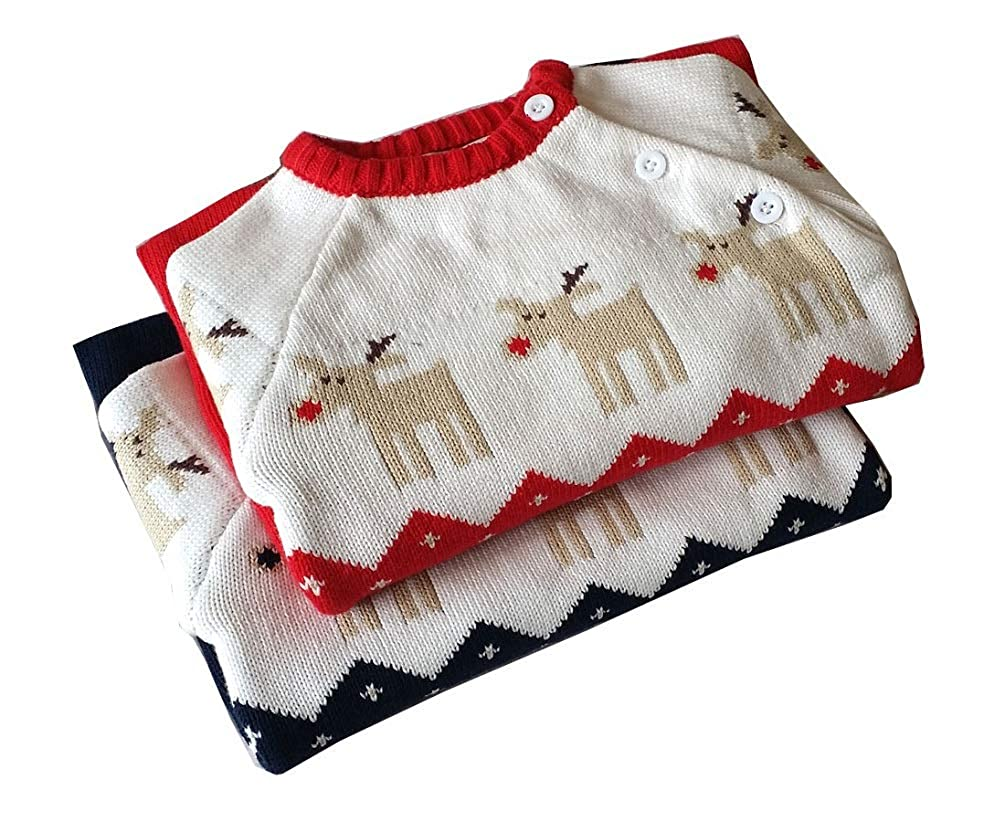 Goodkids Infant Baby Christmas Sweater Newborn One Piece Reindeer Knit Warm Overall Jumpsuit Rompers Outfit
