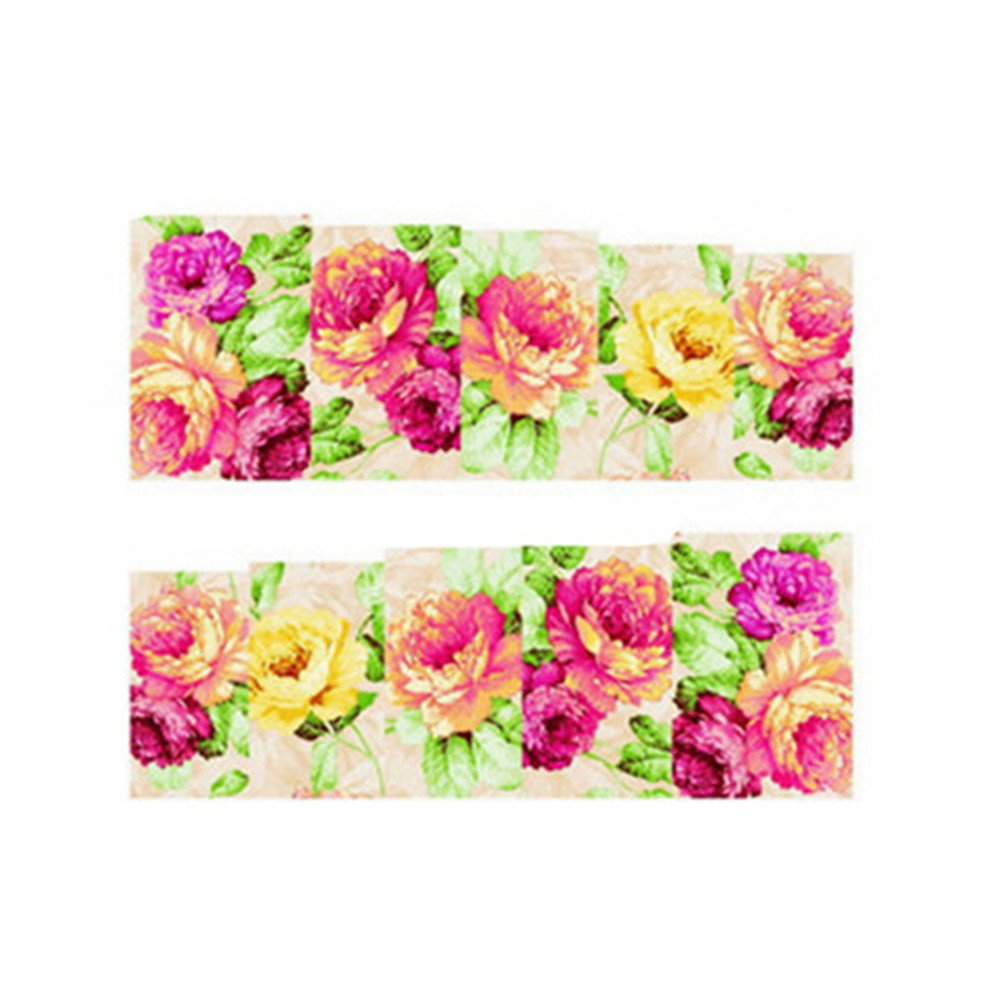 enForten Nail Water Decals Transfer Sticker Chic Painting Floral Pattern 10 Wraps XF1395