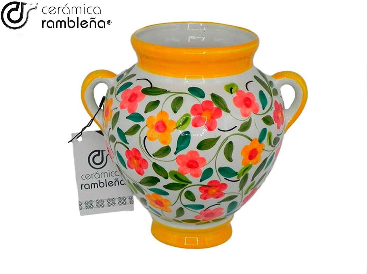 20 x 20 x 14 cm Ceramica rampicante Vaso da fiori da appendere Giallo e bianco 100/% decorato a mano Vaso da parete