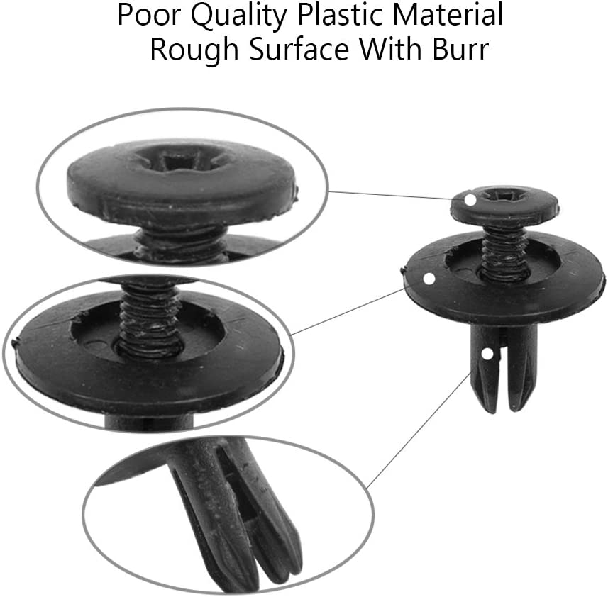 ClipsOne 50 PCS Cowl Vent Retainer Black Nylon with Seal Fastener Rivet Clips for GM # 20511451 Doitnow