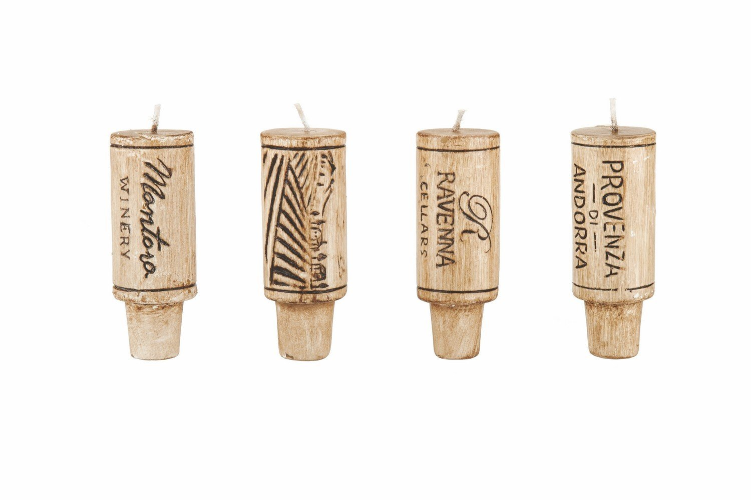 True Fabrications Candle Wax, Small Rustic Decorative Home Wine Cork Wax Candle Set, Set of 4 (Sold by Case, Pack of 6)