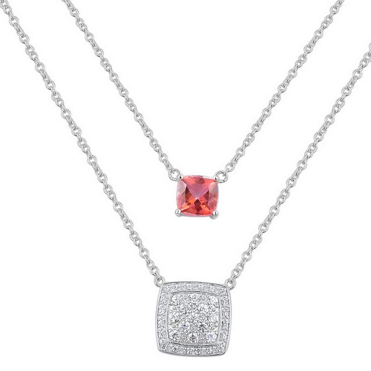 Model NCKLCS 11881 Florance jones Girls 925 Sterling Silver Topaz White Zircon Chain Necklace 20 4.010