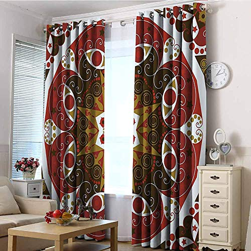 HCCJLCKS Classic Decor Collection Spacious Blackout Curtains Ornamentation Old Victorian Style Historic Interior Design Round Shape Art Pattern Good for Sleep Olive Burgundy W108 xL84