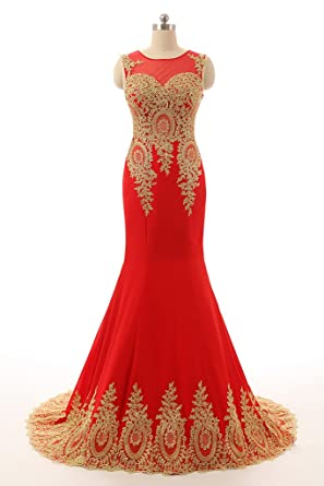 HONGFUYU Womens Gorgeous Long Formal Evening Dresses Party Prom Gowns - Red -
