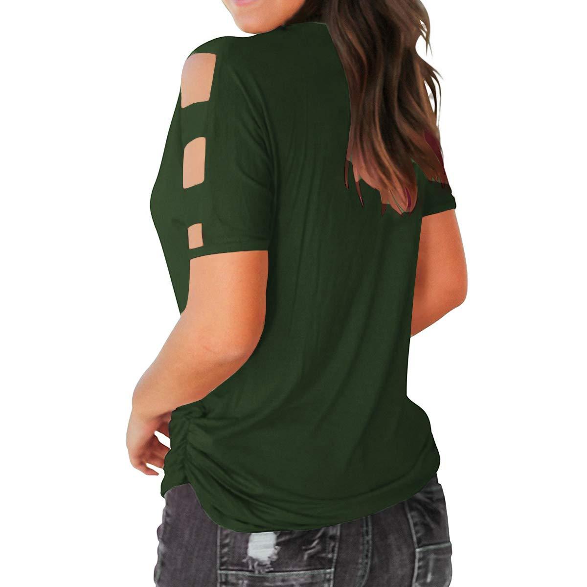 Eanklosco Womens Summer Short Sleeve Cold Shoulder Tops V Neck Basic T Shirts (Green, XL)