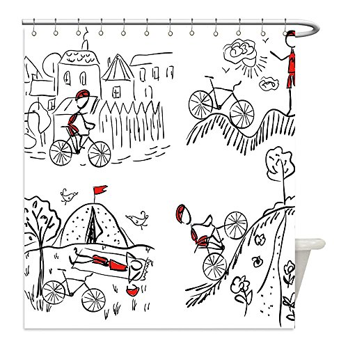Zombie Cyclist Costume (Liguo88 Custom Waterproof Bathroom Shower Curtain Polyester Sketchy Decor Hand Drawn Doodle Style Cyclist Climbing to Mountain Artwork Image Black White and Red Decorative bathroom)