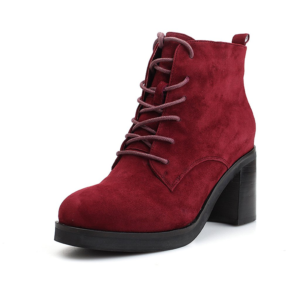 Women's Martin Boots Winter Leather Boots medium tube high heels ( Color : Red , Size : US:5.5UK:4.5EUR:36 )