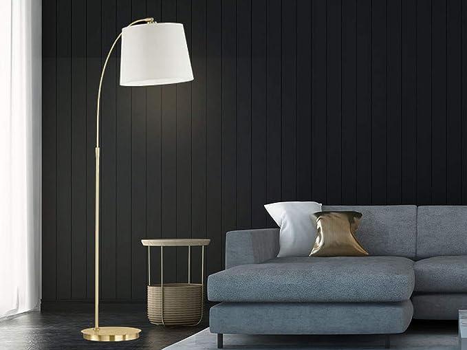 Stehlampe in Messing matt mit weißem Stoffschirm rund Ø 50cm Wohnzimmerlampen