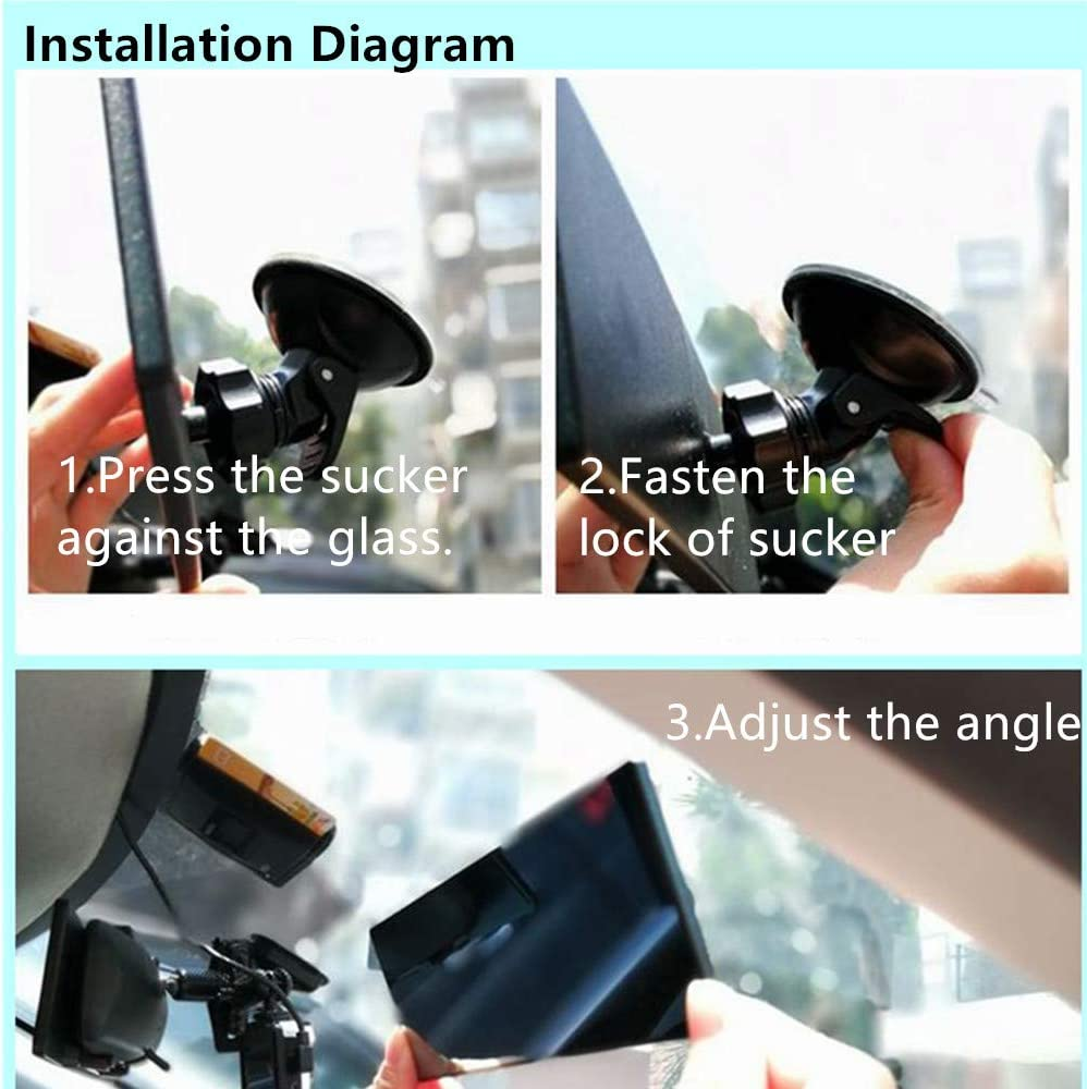 BININBOX Car Truck Universal Rear View Mirror Anti Glare Rearview Mirror Clip on Panoramic Car Interior Wide Angle Baby Rear View Mirror White Mirror//Wider View