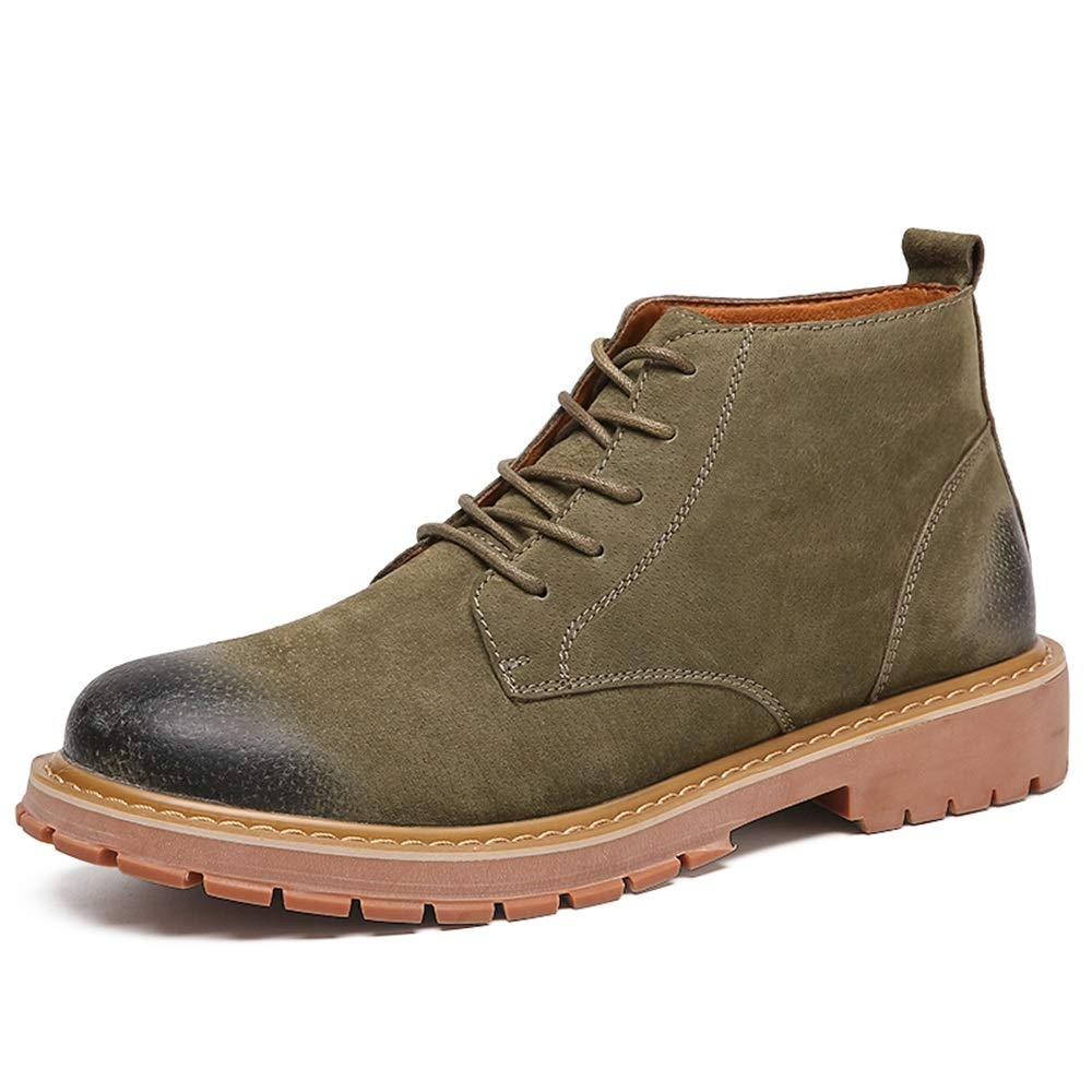 Green Men's Fashion Ankle Work Boot Casual Solid color Lacing Up High Top Boot Cricket shoes