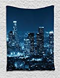 world trade center wide screen - Ambesonne Apartment Decor Collection, Los Angeles Buildings at Night Monochromatic Photo Scenery Town Dusk Scenic, Bedroom Living Room Dorm Wall Hanging Tapestry, Dark Teal Navy Bue