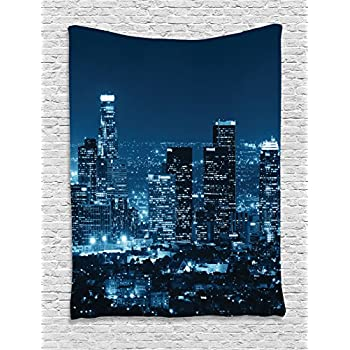 Ambesonne Apartment Decor Collection, Los Angeles Buildings at Night Monochromatic Photo Scenery Town Dusk Scenic, Bedroom Living Room Dorm Wall Hanging Tapestry, Dark Teal Navy Bue