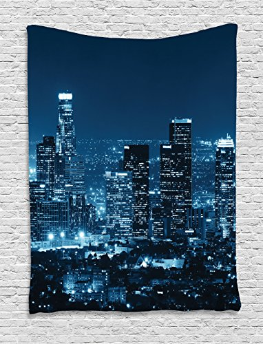 Ambesonne Apartment Decor Collection, Los Angeles Buildings at Night Monochromatic Photo Scenery Town Dusk Scenic, Bedroom Living Room Dorm Wall Hanging Tapestry, Dark Teal Navy - Pictures Broadway At Beach The