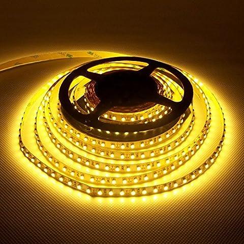 LEDJump Bright High Power Ouput Lumen Flexible 300 LED Light Strip Ribbon 16 Ft 5 Meter 3M Tape Warm White 2500-2700k 12V Dimmable