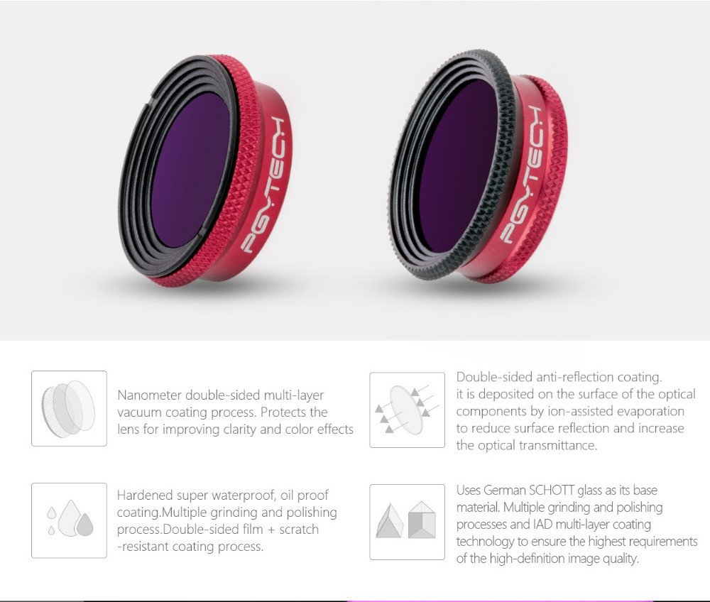 Drone Filter PGY UV CPL ND4/8/16/32 Lens Filters for DJI Mavic AIR Professional Edition by Tronet RC Drone (Image #3)
