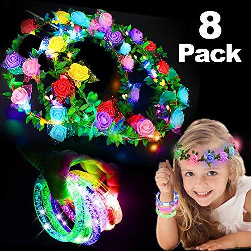 4 Pack LED Flower Crown + 4 Pack Flash LED Bracelet Flower Wreath Garland with 10 LED Flower Headpiece Flower Headdress for Girls Women Party Favor for Kids Birthday Wedding Halloween -