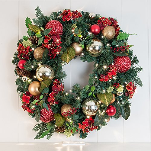 Pre-Lit Decorated Wreath Scarlet Hydrangea 30'' by VILLAGE LIGHTING COMPANY (Image #1)