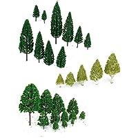 WINOMO 27pcs modello alberi in miniatura alberi treni Ferrovie scenario architettonico paesaggio alberi scala 1:50