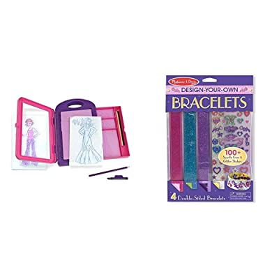 Melissa & Doug Fashion Design Activity Kit (Arts & Crafts, Best for 5, 6, 7 Year Olds and Up) & Design-Your-Own Bracelets (Arts & Crafts, Easy Tab Closure, Best for 4, 5, 6, and 7 Year Olds): Toys & Games