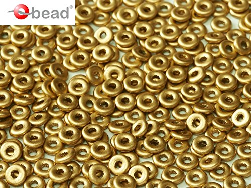 (5gr O-Bead - Czech Glass Pressed Beads in Donut-Shape 1x4 mm Crystal Aztec Gold)