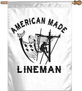 JINYOUR Home Flag Eagle American Made Lineman House Flag Garden Flag 27