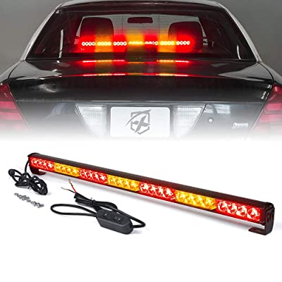 "Xprite 31.5"" Inch 28 LED Strobe Emergency Traffic Advisor Warning Light Bar w/ 13 Flashing Patterns for Firefighter Vehicles Trucks Cars - Red & Amber/Yellow: Automotive"