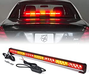 "Xprite 31.5"" Inch 28 LED Strobe Emergency Traffic Advisor Warning Light Bar w/ 13 Flashing Patterns for Firefighter Vehicles Trucks Cars - Red & Amber/Yellow"