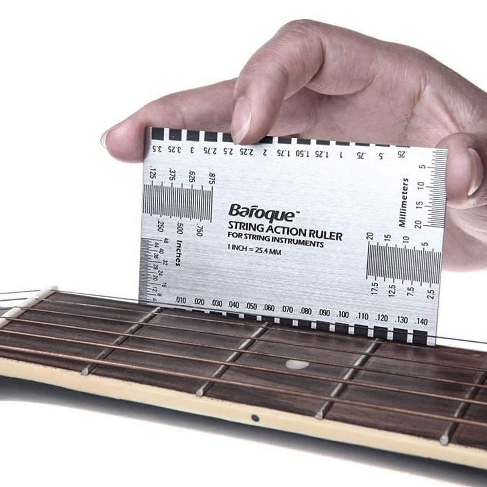 scala combinata Rular Strumenti professionali per chitarra righello coronatura e misuratore di azione strumento di riparazione liutaio lima per chitarra