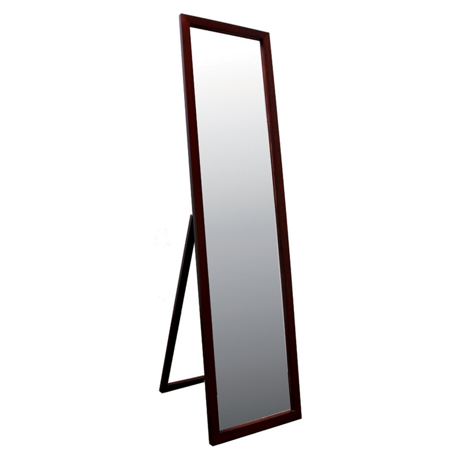 Full Length Floor Mirror Tall 55'' Free Standing Mount Solid hardwood Frame Vertical Leaning