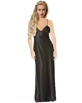 suche nach dem besten Sonderangebot offizielle Seite RUNYA Damen Satin Nachthemd Lange Negligee Nachtwäsche Nachtkleid Schwarz  Weiß Plus Größe