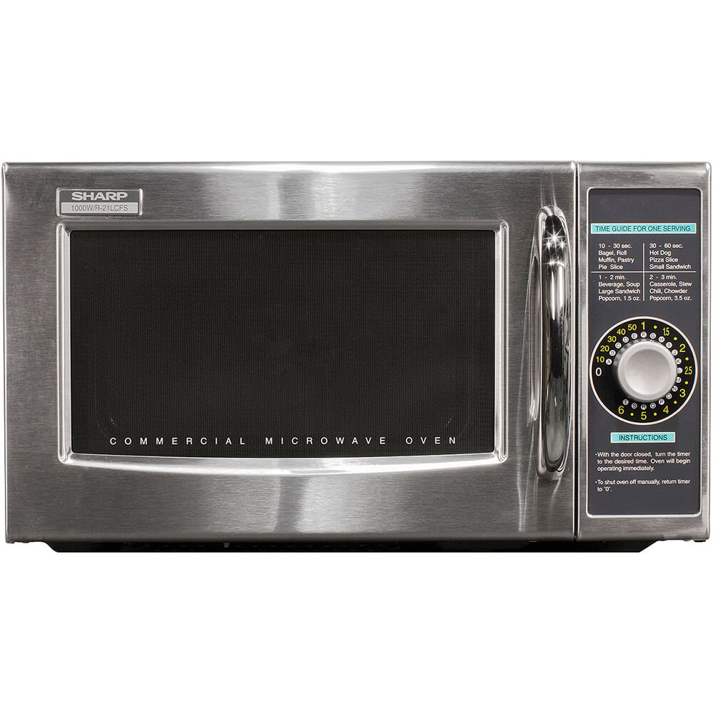 Sharp R-21LCFS Medium-Duty Commercial Microwave Oven with Dial Timer, Stainless Steel