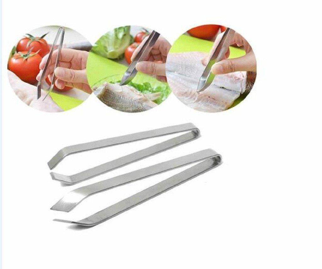 Youji® Stainless Steel Fish Pin Bone Tweezers Remover Deboner Pincer Puller Tongs Pick-Up Tool (pack of 2)