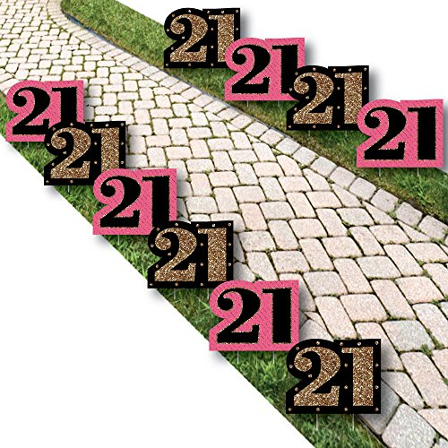 Finally 21 Girl - Lawn Decorations - Outdoor 21st Birthday Party Yard Decorations - 10 Piece ()