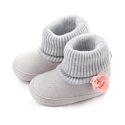 Botas de hilo de lana cálida para recién nacido con botas altas de ...