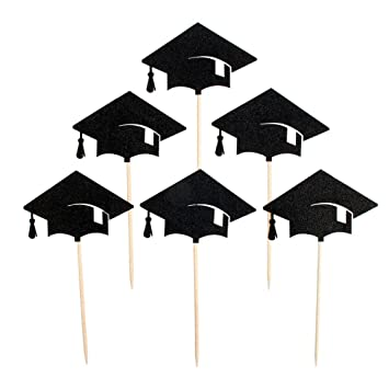 Tinksky 6pcs Graduation Cap Cupcake Toppers Kuchendekoration Fur Party Favors