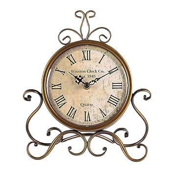 Amazon.com: JUSTUP Reloj de mesa vintage, estilo europeo de ...