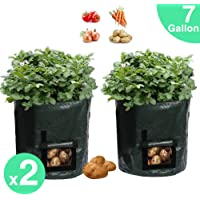 2 Pack 7 Gallon Garden Potato Grow Bags Planter Bag, Heavy Duty & Durable Bags with Flap and Handles Aeration Fabric Pots Heavy Duty for Grow Vegetables: Potato,Carrot,Tomato,Onion