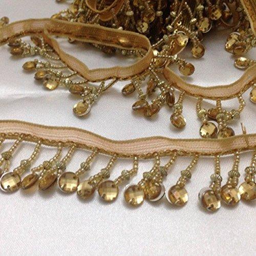 Beaded Trim Curtain Blind Bead Fringe Edge Trimming GOLD 1 Yard x 35 mm