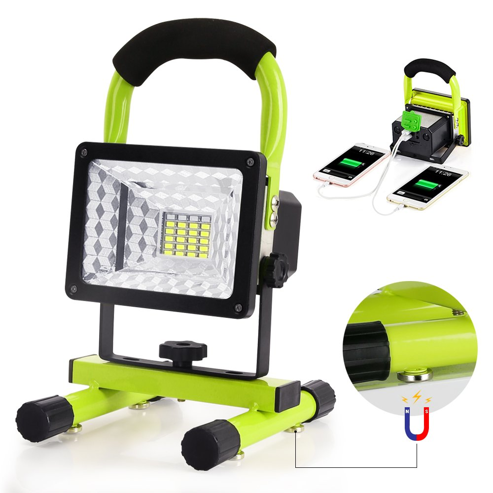 Work Light, Led Work Light with Magnetic Stand BESWILL Portable Rechargeable Battery Flood Light 15W 24LED SOS Mode Outdoors Camping Emergency Light with 2 USB Ports to Charge Digital Devices (Green)
