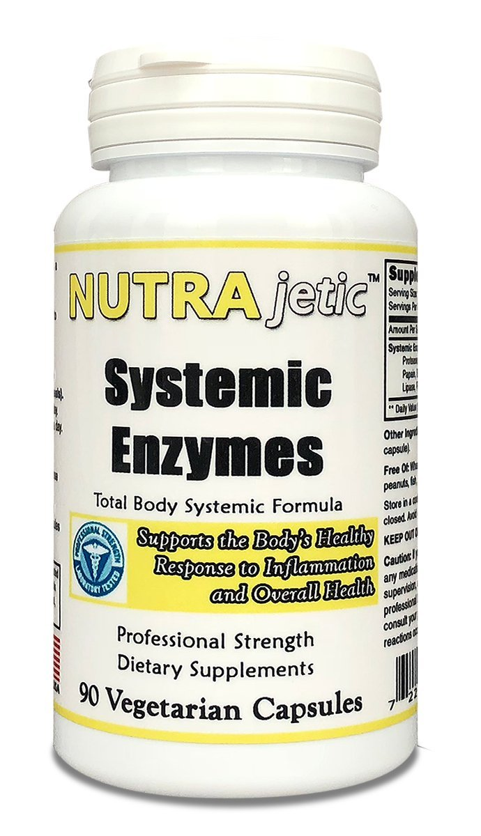 Nutrajetic - Systemic Enzymes - 90 Vegetarian Capsules – Total Body Support – Professional Strength
