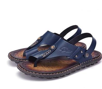 Herren Sandalen Frühling Sommer Komfort Flip Flop Friesen für Casual Brown Blau Gelb Größe 38-47 (Farbe : Braun, Größe : 39) MYI
