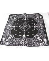 Bandana carré 55cm 100% coton noir effet cachemire motif crânes et os - Idéal port quotidien, fête pirate, motards, etc