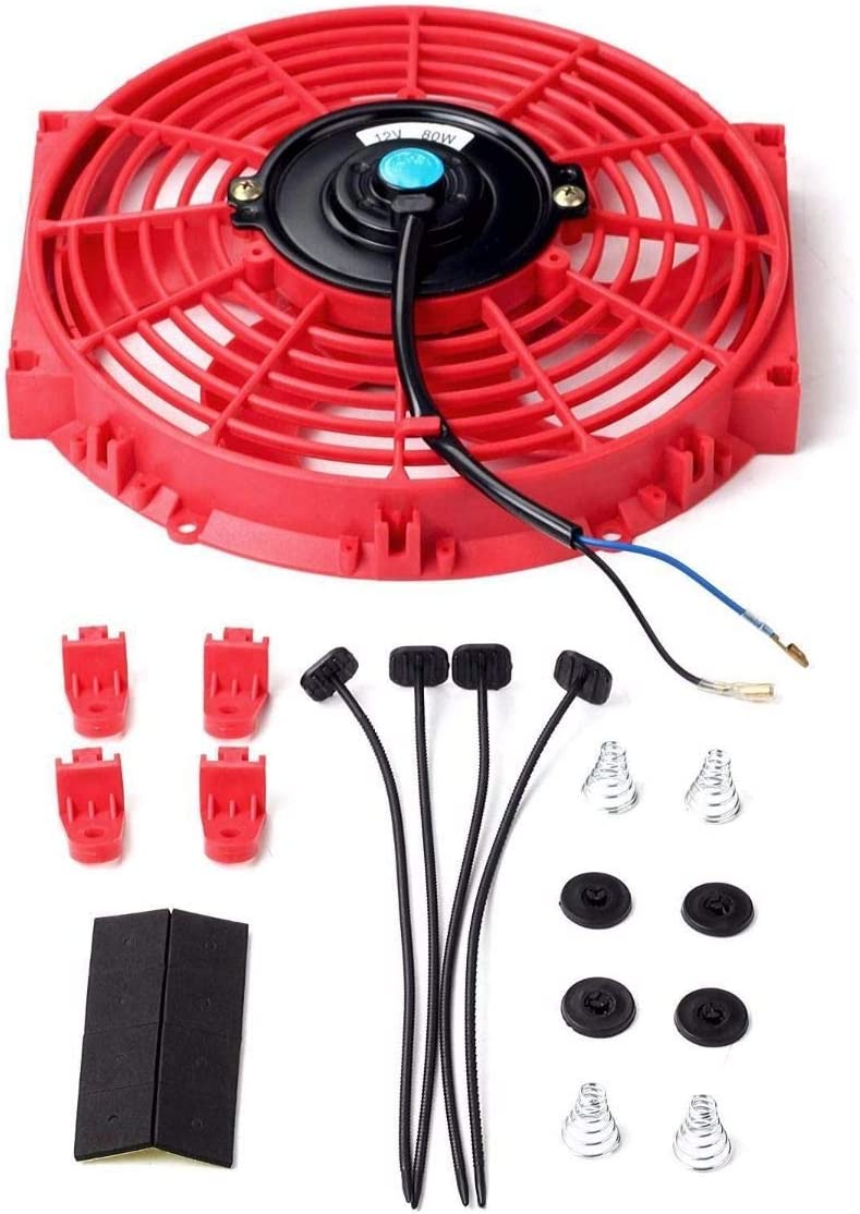 "Universal Slim Fan Push Pull Electric Radiator Cooling 12V 80W Mount Kit (10"", Red)"