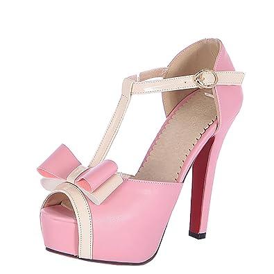 UH Damen High Heels Peep Toe Stiletto Pumps Riemchen mit Schleife Elegante Schuhe