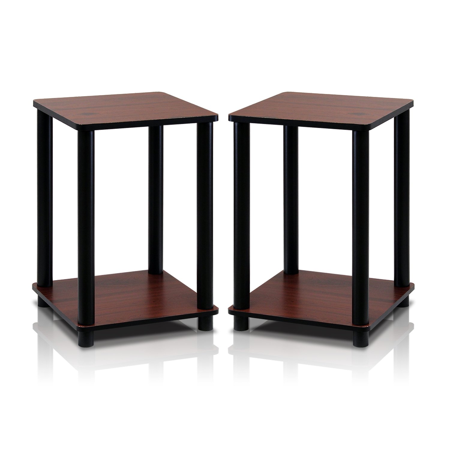 Furinno 2-99800RDC Turn-N-Tube End Table Corner Shelves, Set of 2, Dark Cherry/Black by Furinno
